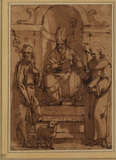 Saint Augustine enthroned with Saint John the Baptist and Saint Francis
