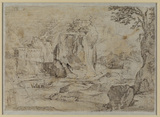 Rocky landscape with castle (verso)
