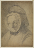 Portrait head of an elderly woman in a bonnet