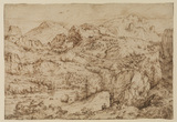 Landscape with an artist sketching