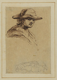 Portrait head of a young man in a brimmed hat