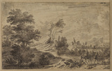 Landscape with figures on a road