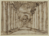 Architectural capriccio - interior of a colonnaded hall (recto)