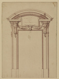 Design for a door frame, with grotesque masks and swags