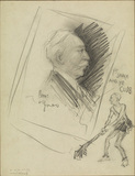 Profile portrait head, and caricature of same man as a