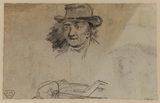 Portrait head of a man, and rough figure sketch (verso)