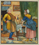 Illustration for 'The Elves and the Shoemaker' - shoemaker showing his wife shoes for the elves