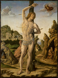 Saint Sebastian in a rocky landscape with Saints Jerome, Anthony Abbot and Christopher