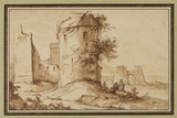Landscape with a ruined wall and towers
