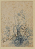Landscape with trees by a rock (recto)
