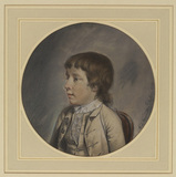 Portrait of boy, bust length, half turned to the left