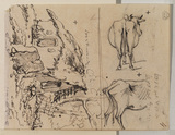 Figure seated by a cottage, and two studies of a cow (verso)