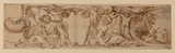 Frieze, with a shield held by putti (recto)