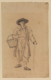 Man carrying a stick and basket (recto)