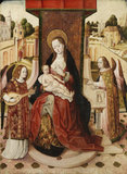 Triptych (central panel) - Virgin and Child enthroned with two angels