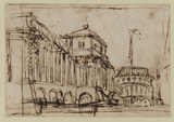 Architectural capriccio - imaginary palace built on a bridge (recto)