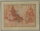 Studies of two nude figures (recto)