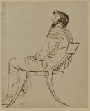 Draped male figure, seated in profile