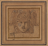 Ornamental head with winged helmet