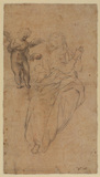 Studies of putto and draped and seated female figures (verso)