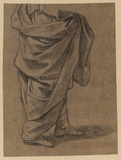 Standing draped figure, from the waist down (recto)