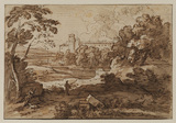 Italianate landscape, with two figures