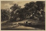 Wooded landscape with figure resting against felled tree trunk (recto)