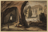 Landscape with a road cut through the rocks
