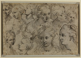 Studies of female heads (verso)