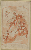 Design for decorative panel with figures on clouds (recto)