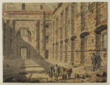 View of the Palace of Diocletian at Spalato, with workmen engaged on excavation