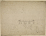 Sketch of a house and garden (verso)