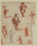 Sheet of nine figure studies
