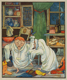 Illustration for 'The Elves and the Shoemaker' - elves trying on the shoemaker's clothes