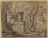 Landscape with trees and classical ruins