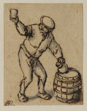 Peasant with a bottle and glass