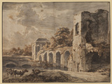Landscape with ruined bridge and cattle, herdsman and dog by the side of a river