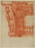 Design for a cartouche with a putto in an architectural setting