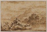 River or estuary landscape with Galatea and tritons