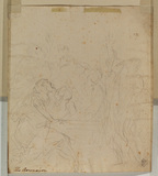 Sketch of figures around the tomb of the Assumption (verso)