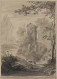 Landscape with a steep road and figures