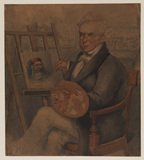 Self-portrait of the artist painting at his easel