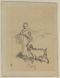 Girl and goat (recto)