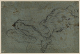Nude male figure reclining; arms outstretched head thrown back (verso)