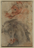 Studies of two horses' heads (recto)