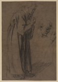 Studies for the figure of a monk (recto)