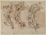 Three designs for an ornamental oval frame