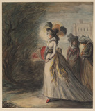 Lady and two maids going for a walk (Adelaide first seen in the gardens of Bagnieres)