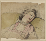 Young lady resting, bust-length