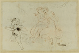 Studies of a winged putto and two female nude figures (verso)
